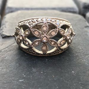 Diamond and silver hardware flower ring